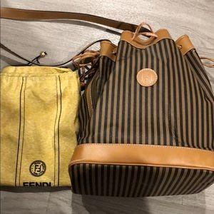 Fendi Bucket Bag Striped Leather Black & Tan